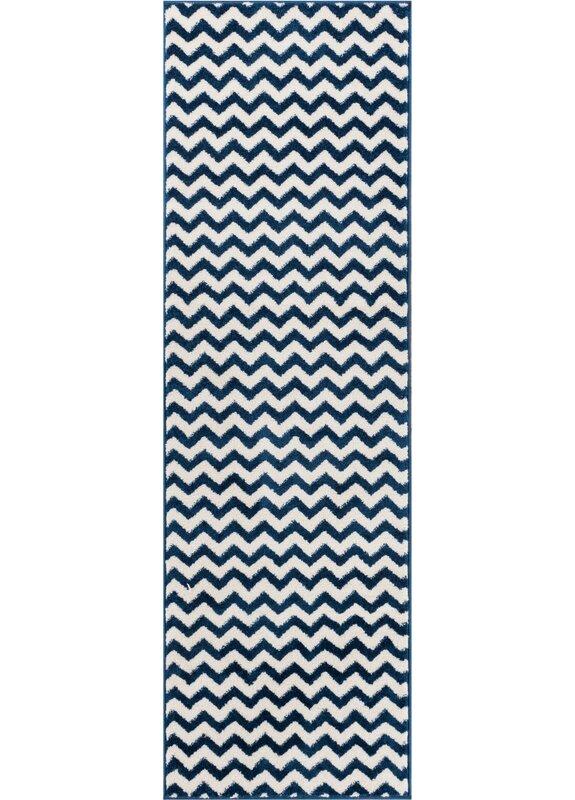Ebern Designs Burgess Chevron Dark Blue