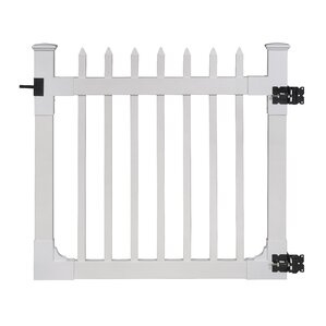 Nantucket Vinyl Picket Gate with Stainles..
