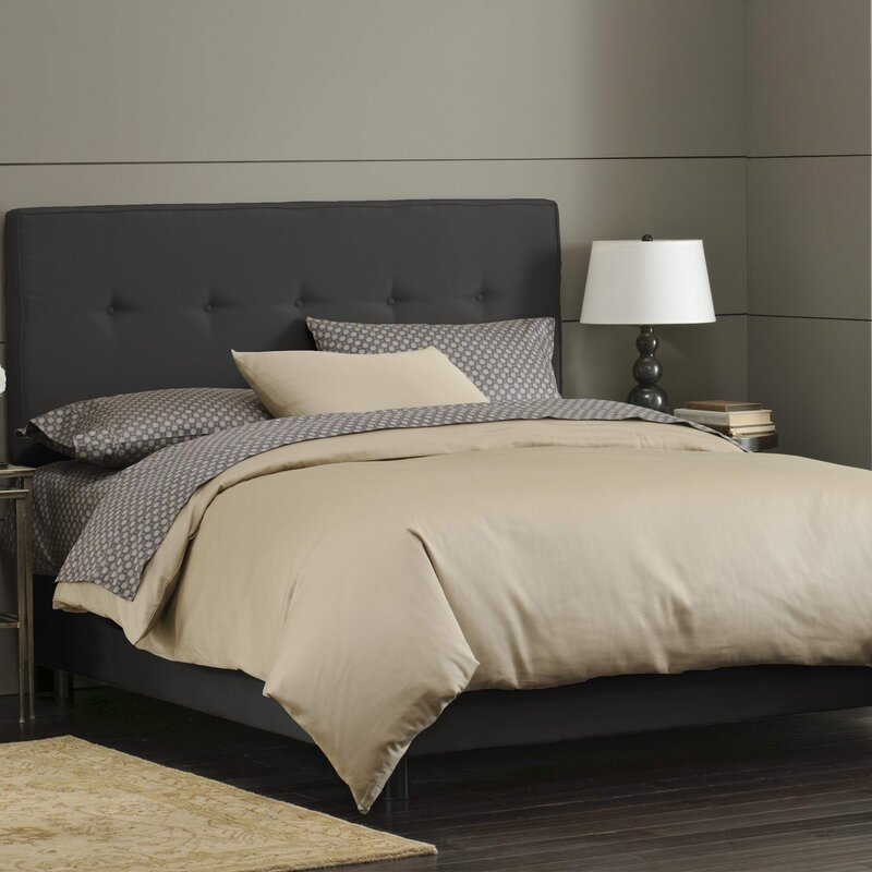 Button Tufted Upholstered Panel Bed