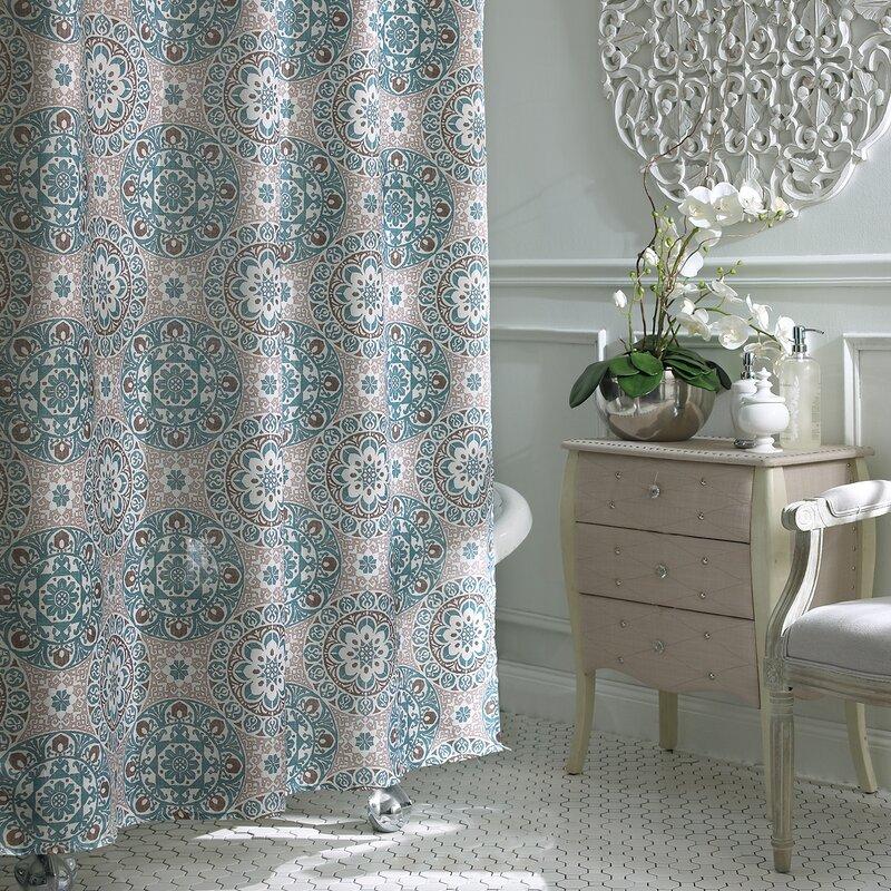 aqua and gray shower curtain.  Shower Curtains You ll Love Wayfair