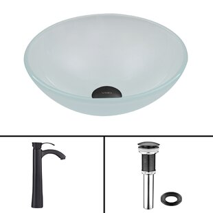 Glass Circular Vessel Bathroom Sink with Faucet VIGO