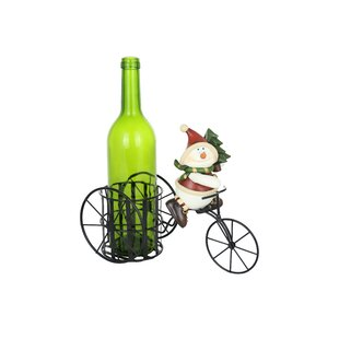 Silly Snowman Riding Tricycle 1 Bottle Tabletop Wine Rack