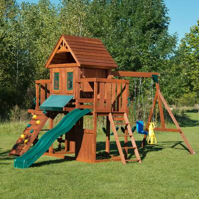 Swing N Slide Winchester Wood Complete Swing Set Reviews Wayfair