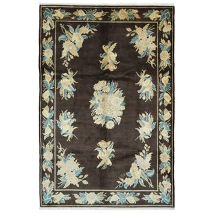 One-of-a-Kind Courtois Oriental Hand-Knotted Wool Brown/White Area Rug Isabelline