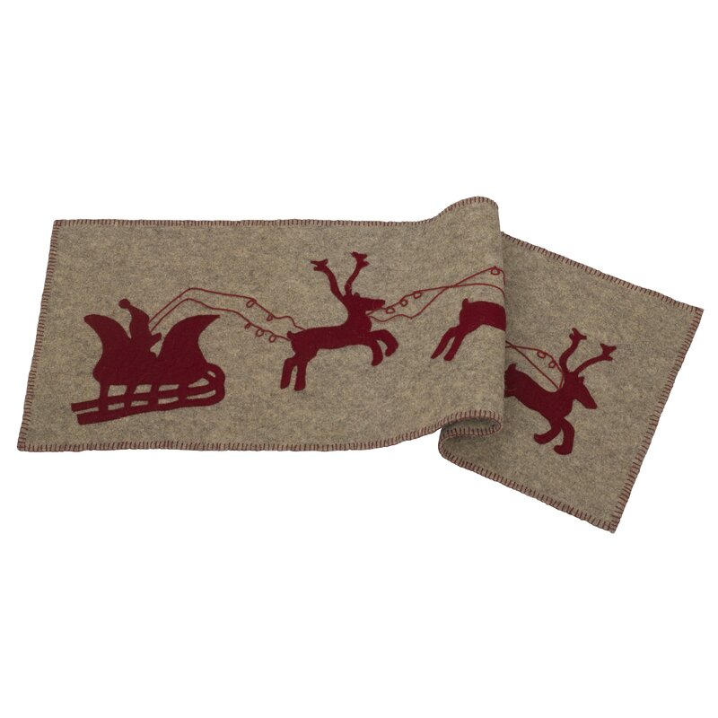 The Holiday Aisle Delmonte Handmade Hand Felted Wool Table Runner with Reindeer and Sleigh
