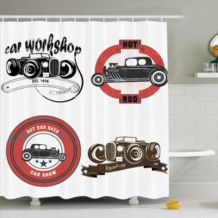 Vintage Retro Cars Pop Art Shower Curtain Set