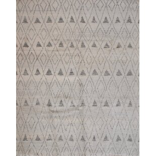 Best One-of-a-Kind Cresson Moroccan Beni Ourain Hand-Knotted 8'1'' x 10'1'' Wool White Area Rug By Isabelline