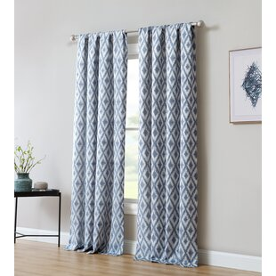 Pottorff Jacquard Window with Ikat Room Darkening Rod Pocket Single Curtain Panel by Bungalow Rose