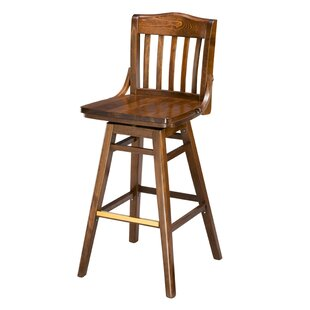 Chesebrough Beechwood School House Wood Seat Swivel Bar Stool Loon Peak