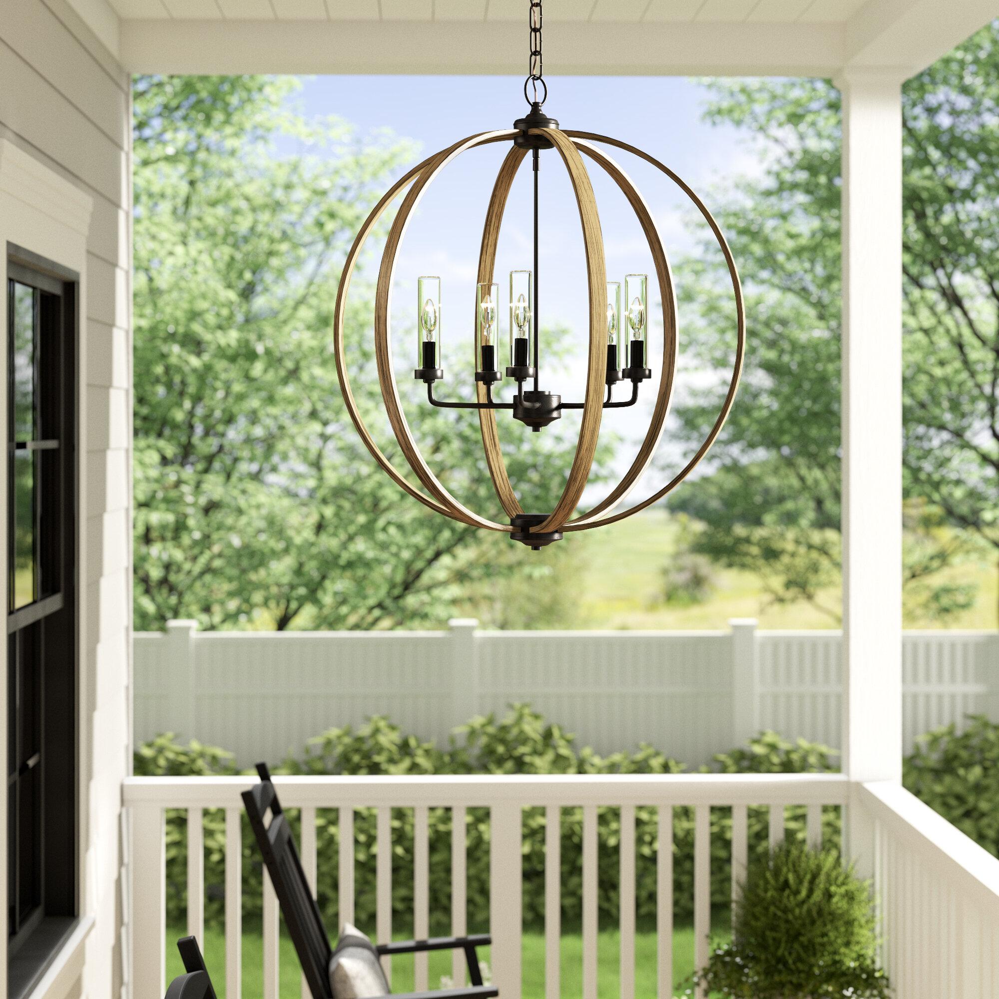 Laurel Foundry Modern Farmhouse Flavien Brown 5 Bulb 27 87 H Outdoor Chandelier Reviews Wayfair