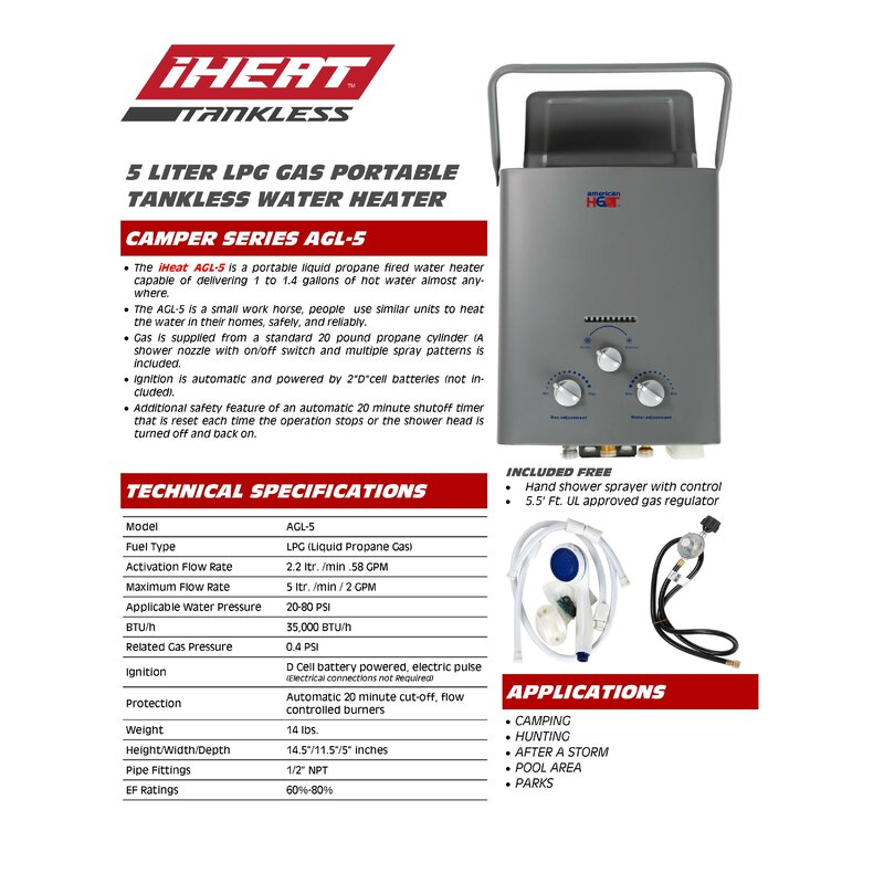 Drakken 1 4 Gpm Liquid Propane Tankless Water Heater Wayfair