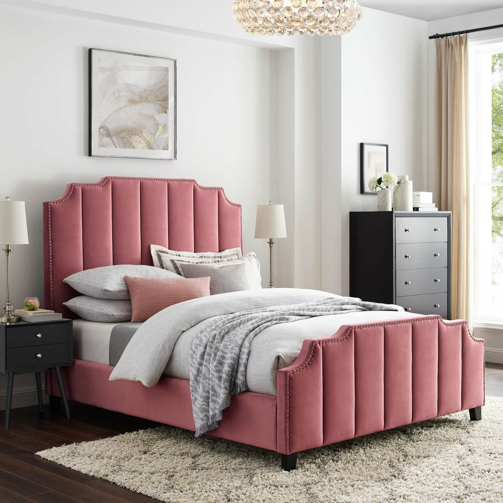 Red Barrel Studio Roksanda Queen Tufted Upholstered Low Profile Platform Bed Wayfair