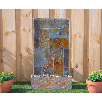 Wildon Home® Natural Stone Creek Floor Fountain with Light