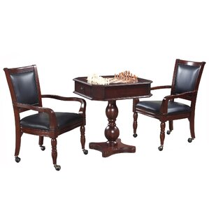 3 Piece Backgammon Pedestal Game Table And Chairs Set