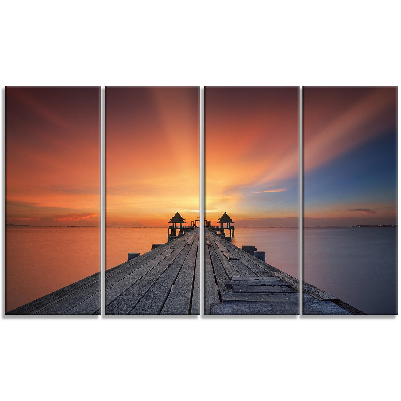 Designart Wooden Bridge Under Illuminated Sky 4 Piece Graphic Art On Wrapped Canvas Set Wayfair