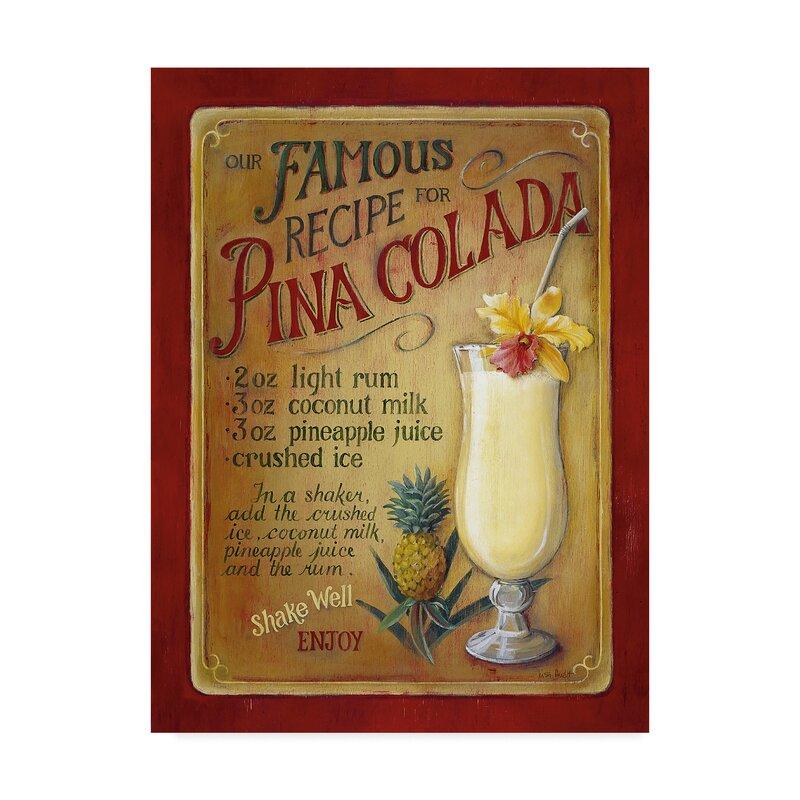 Pina Colada Watercolor Bar Wall Art Print