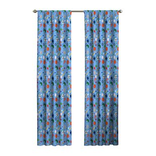 Lou Ann Graphic Print Text Blackout Thermal Rod Pocket Single Curtain Panel