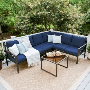 Hallie 5 Piece Sectional Seating Group with Cushions