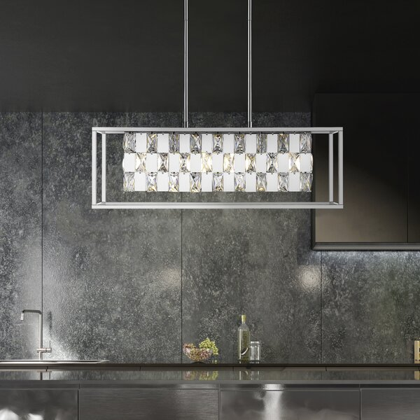 Milliman 6 - Light Kitchen Island Linear Pendant with Wrought Iron Accent by Everly Quinn