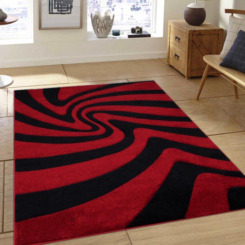Allstar Rugs Abstract Power Loom Red Black Area Rug Reviews Wayfair