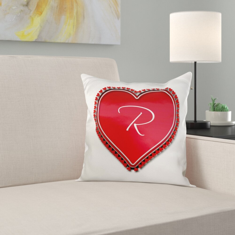 East Urban Home Large Heart On A Background Surrounded Pillow Cover Wayfair