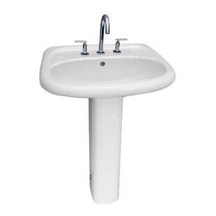 Compare prices Flora Lavatory Vitreous China 24.5 Pedestal Bathroom Sink with Overflow By Barclay