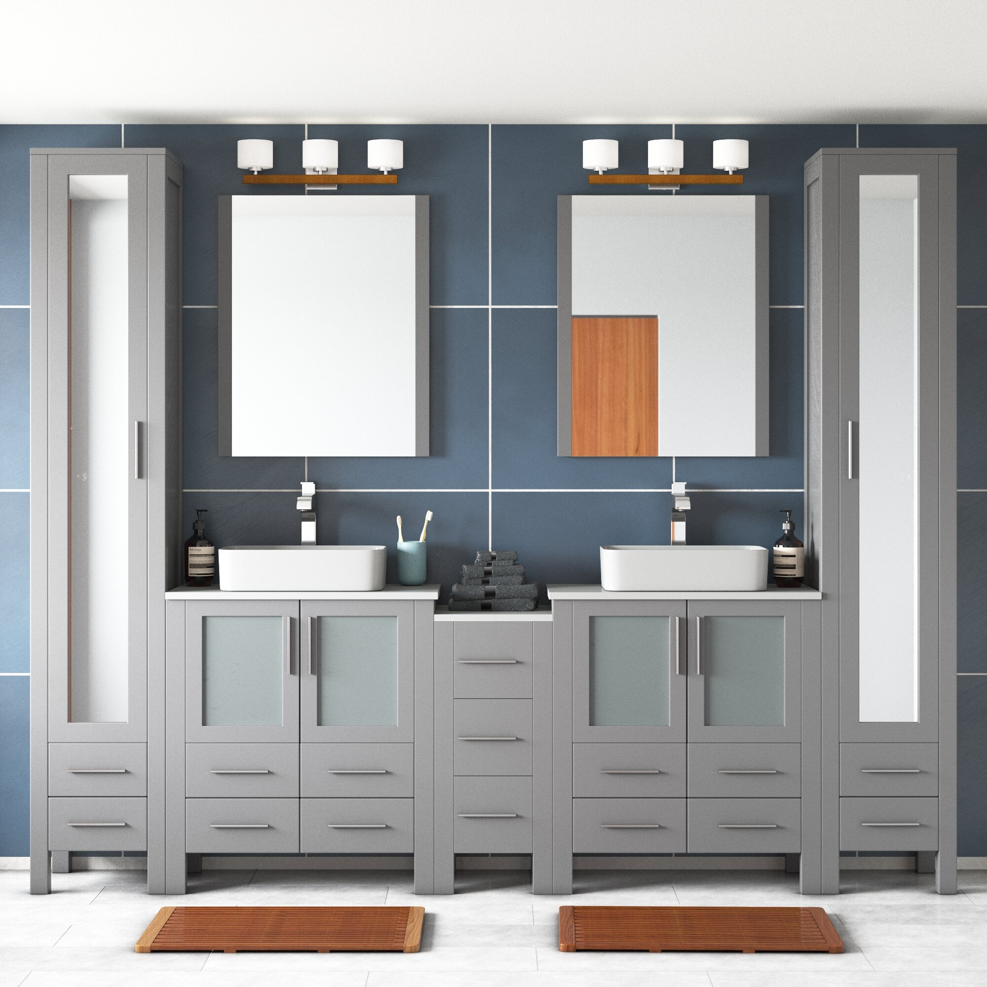 Orren Ellis Mance 103 Double Bathroom Vanity Set With Mirror Reviews Wayfair