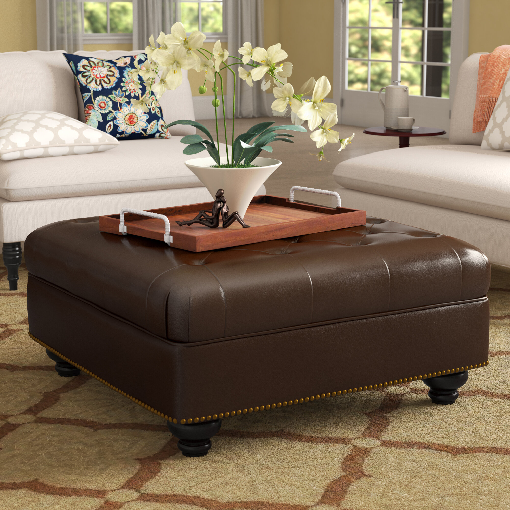 Darby Home Co Novak 38 2 Wide Faux Leather Tufted Square Cocktail Ottoman Reviews