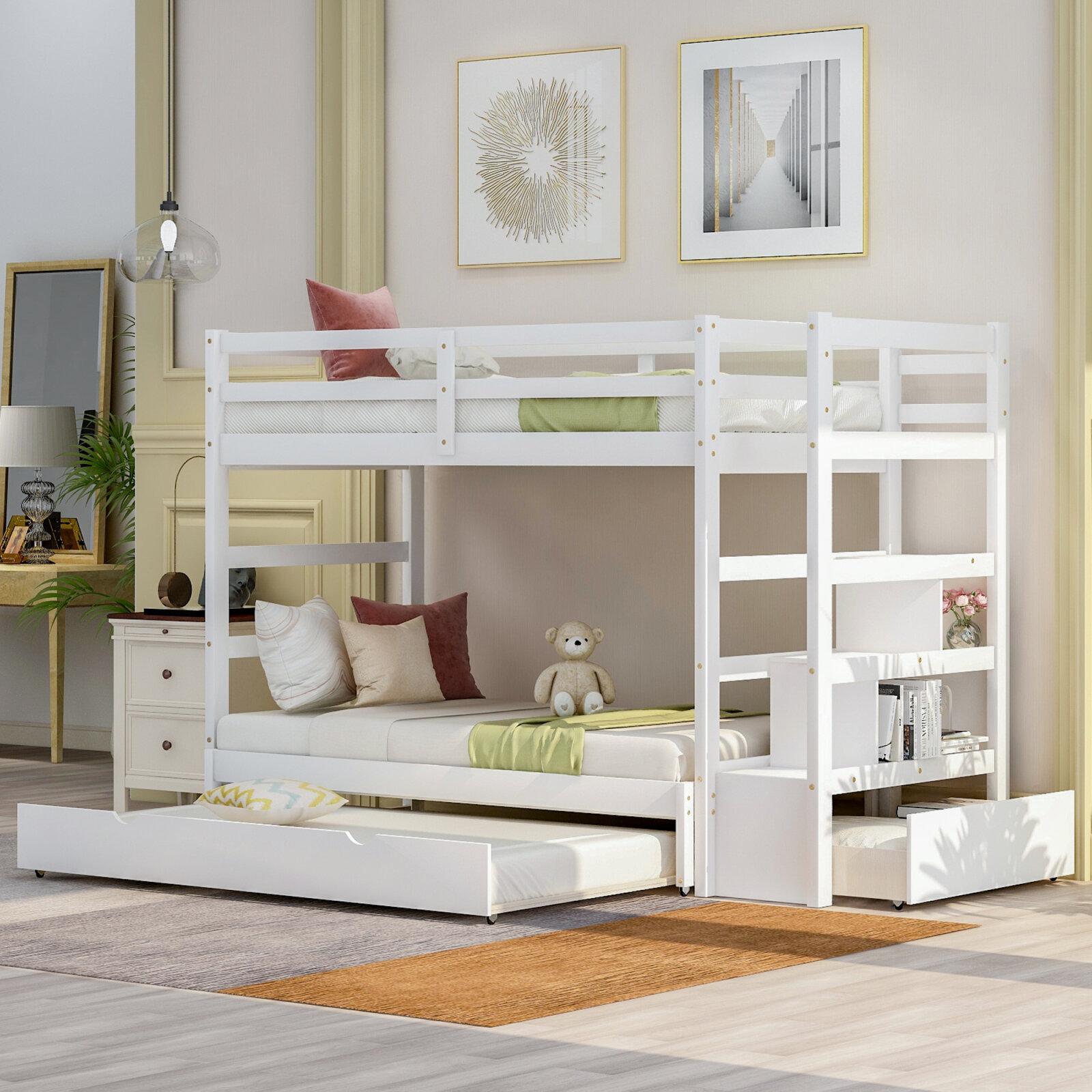 Harriet Bee Iolanta Twin Over Twin Standard Bunk Bed With Trundle By Harriet Bee Wayfair