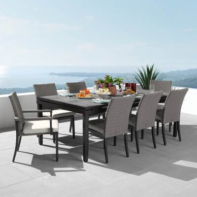 Tukwila 9 Piece Dining Set With Sunbrella Cushions by Foundry Select 2020 Sale