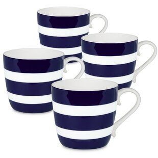 Allaryce Polka Stripes Bone China Coffee Mug (Set of 4)