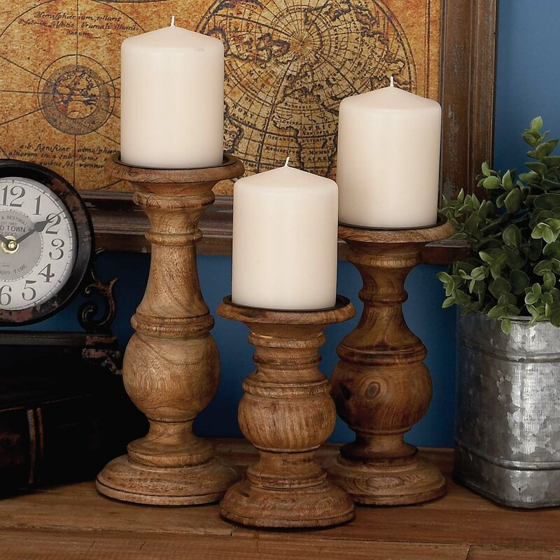 3 Piece Wood Candlestick Set Reviews Joss Main