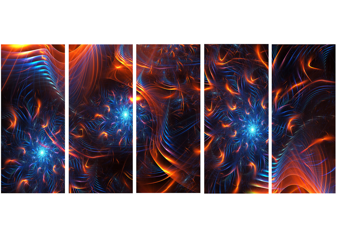 Designart Fire And Ice 5 Piece Graphic Art On Wrapped Canvas Set Wayfair