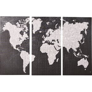 Gray Map Print Multi Piece On Wrapped Canvas