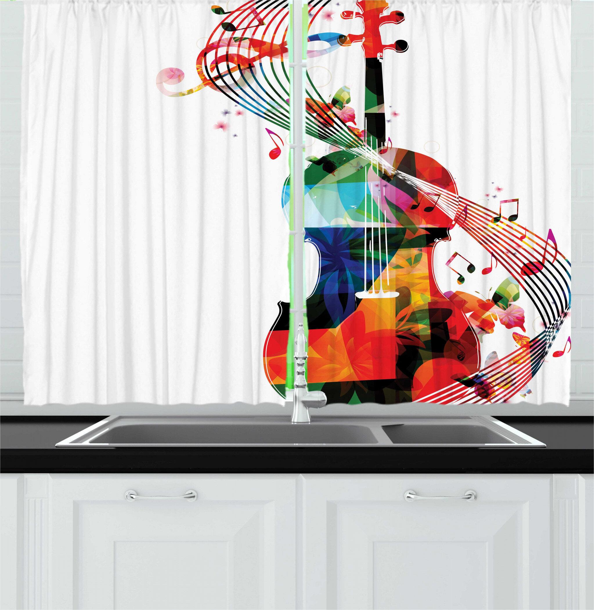 Music Notes Kitchen Curtains Set
