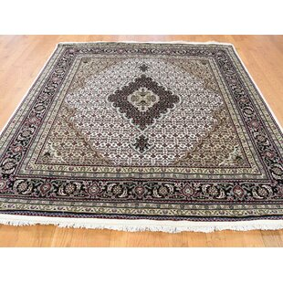 Best Deals One-of-a-Kind Fleurette Hand-Knotted Square 6' Wool/Silk Ivory/Red/Black Area Rug By Isabelline