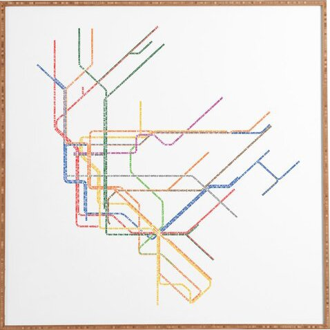 Framed New York Subway Map.Nyc Subway Map Framed Graphic Art Print