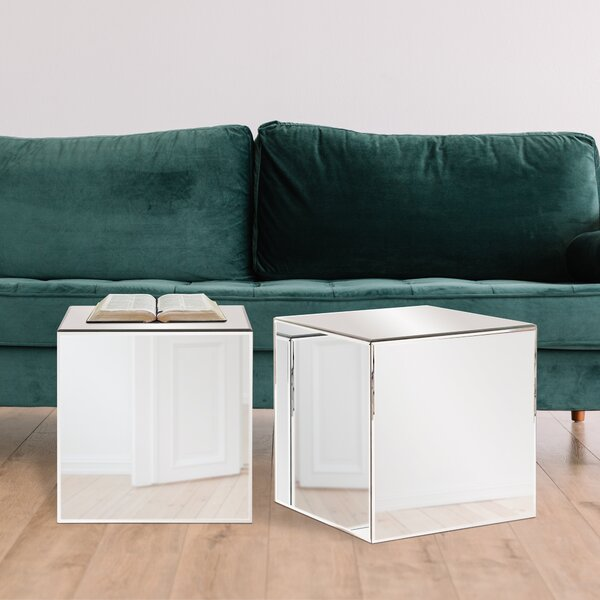 timeless design 437c1 20f36 Charee Mirrored Cube End Table