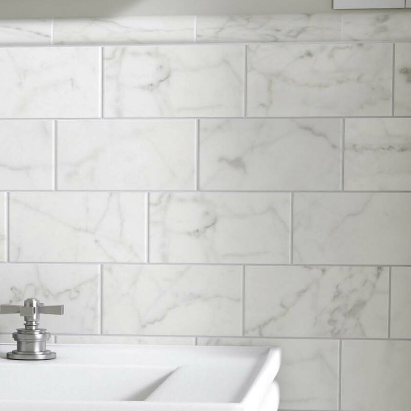 EliteTile Karra Carrara X Ceramic Subway Tile In Matte White - Carrara porcelain tile 3x6