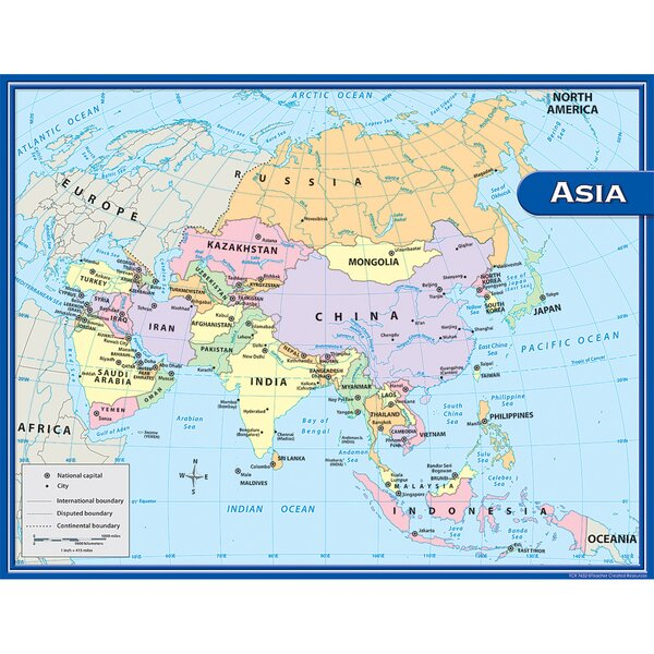 Boundary Map Of Asia.Asia Map Chart 17x22