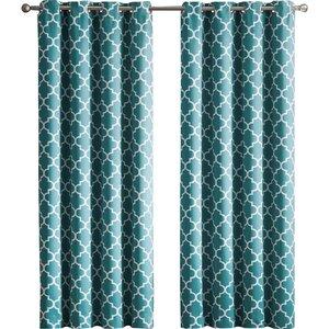 Kuhlmann Lattice Geometric Blackout Thermal Grommet Curtain Panels (Set of 2)