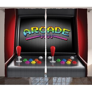 Polly Video Games Arcade Machine Graphic Print Text Semi Sheer Rod Pocket Curtain Panels Set Of 2