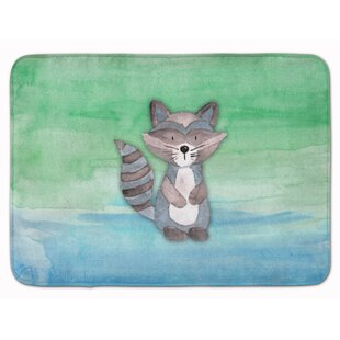 Braxton Raccoon Watercolor Memory Foam Bath Rug