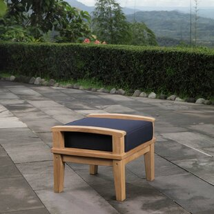 Belle Glade Outdoor Teak Ottoman with Cushion