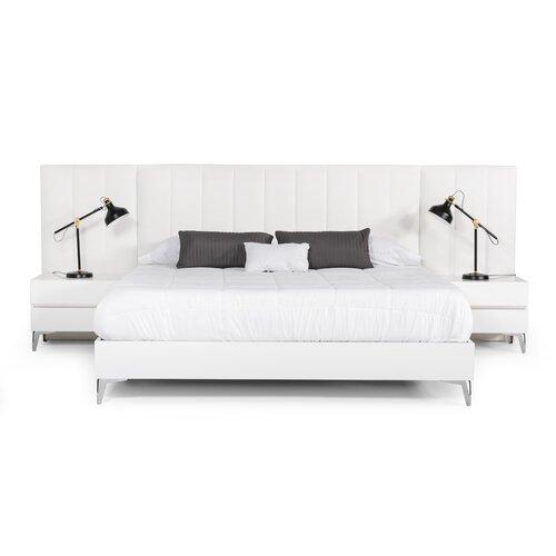 Orren Ellis Kayna Italian Modern White Eco Leather W Nightstand Platform 3 Piece Bedroom Set Wayfair Ca