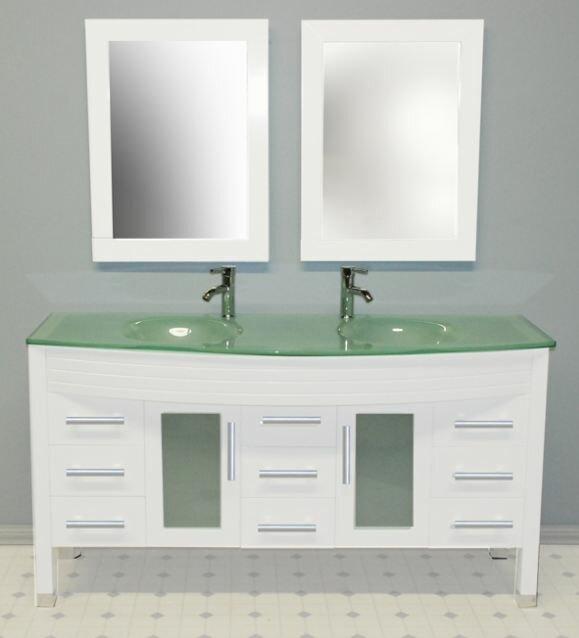 """Bathroom Vanity Plumbing cambridge plumbing modern 63"""" double bathroom vanity set with"""