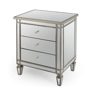 Read Reviews Hoff Mirrored 3 Drawer Nightstand by Rosdorf Park