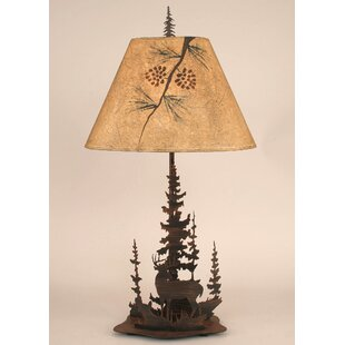 Gonzalez Deer and Feather Tree 33 Table Lamp