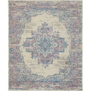 Susan Traditional Distressed Medallion Ivory/Pink Area Rug by Charlton Home