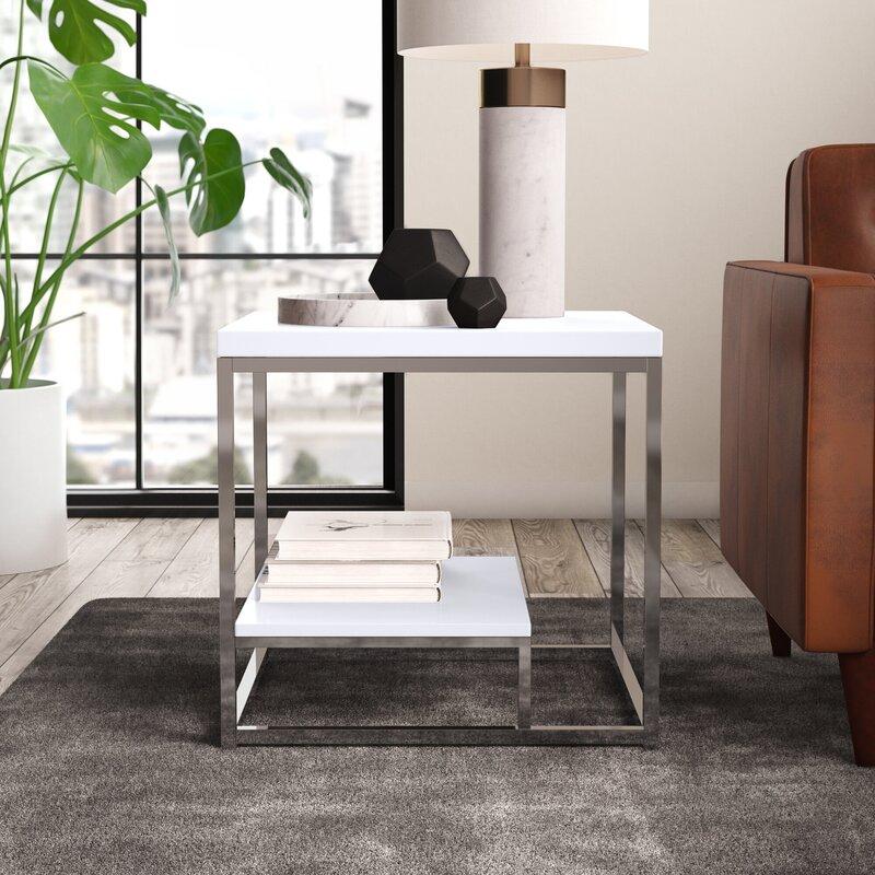 Mercury Row Philippos Frame End Table With Storage Reviews Wayfair